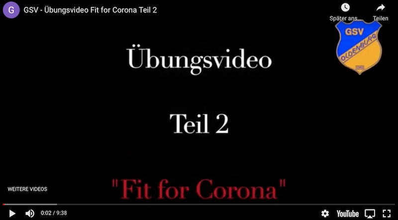 "GSV: Übungsvideo ""Fit for Corona"" Teil 2"
