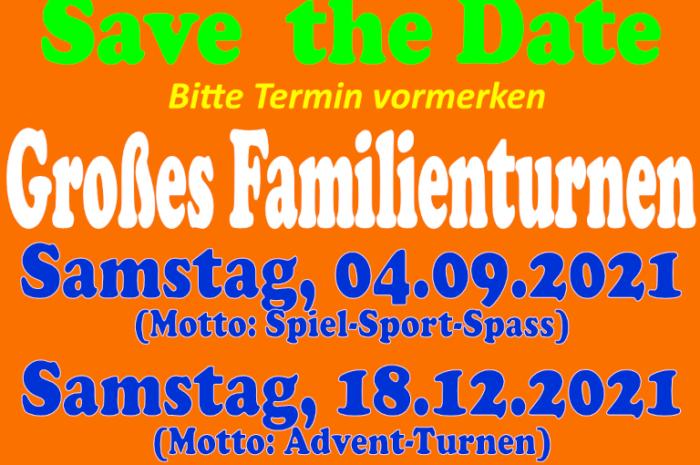 Familienturnen: Save the Date Großes Familienturnen