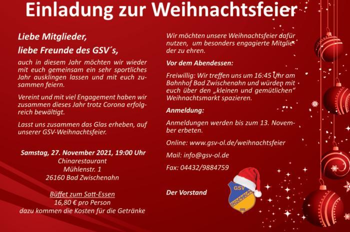 GSV: Einladung zur Weihnachtsfeier 2021